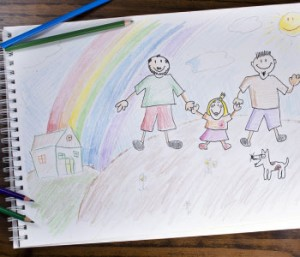Photo of a drawing of a non-traditional family